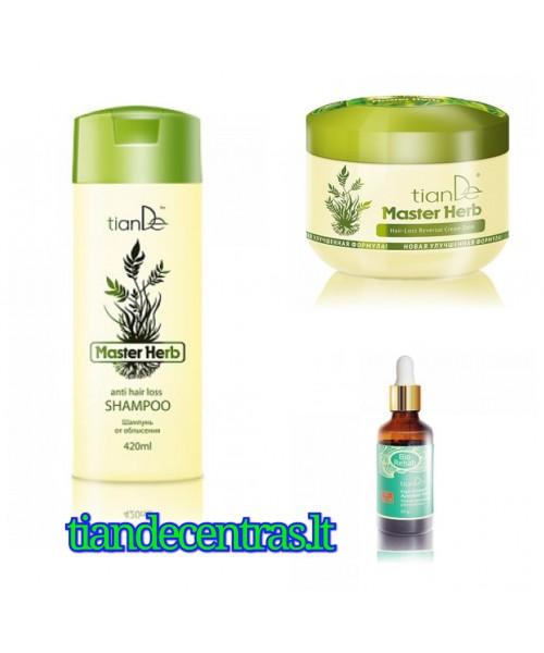 Rinkinys plaukams nuo slinkimo, plikimo retėjimo 420 ml.+500g+50g